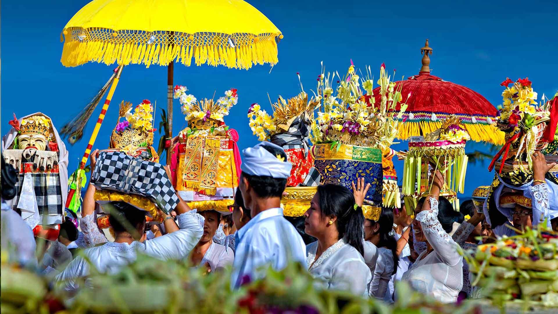 bali cérémonie procession offrandes