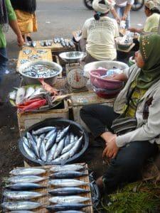 Bali fish market traders
