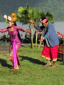 Bali traditional dance joged beratan lake