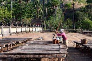 Bali traditional factory make salt karangasem