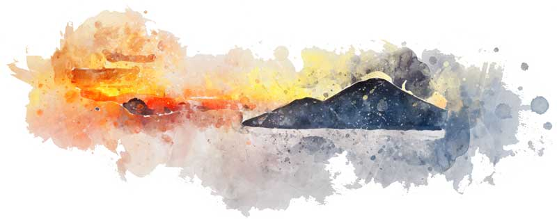 Batur Sunrise Bali design Watercolor