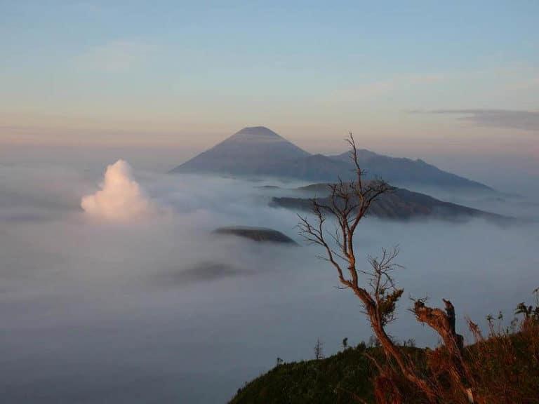 Bromo volcan Java brouillard