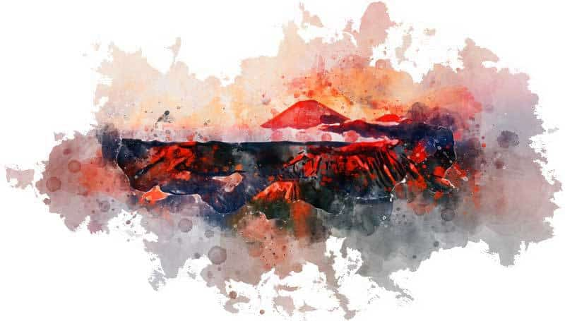 Bromo volcano Java watercolor design