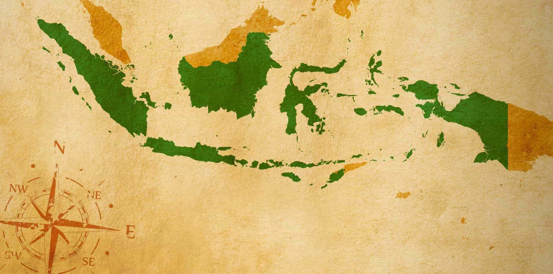map Indonesia old parchment compass