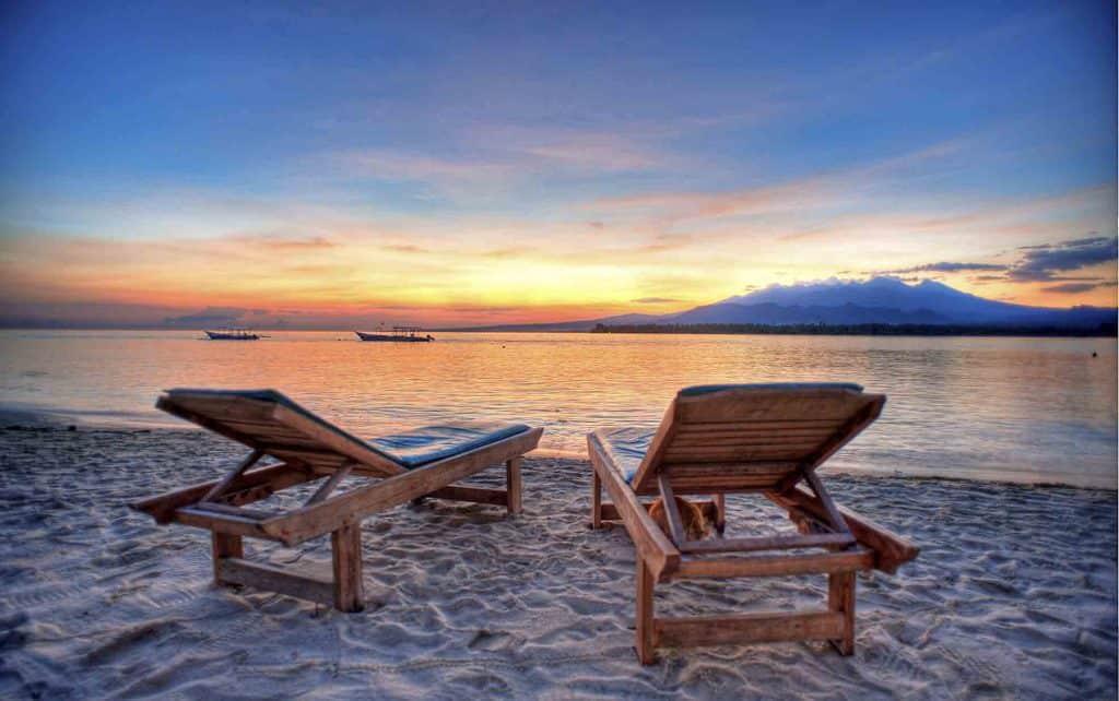 Gili Air couché de soleil Bali plage paradisiaque iles Gili Indonésie Lombok