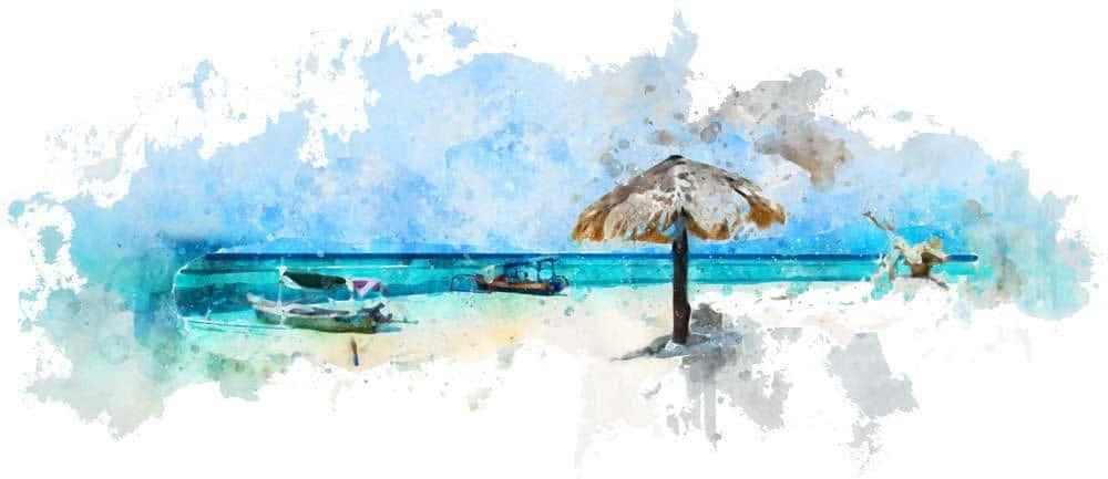 Gili Meno island watercolor design