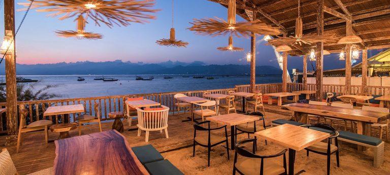 Gili Trawangan restaurant vue panorama iles Gili Indonésie