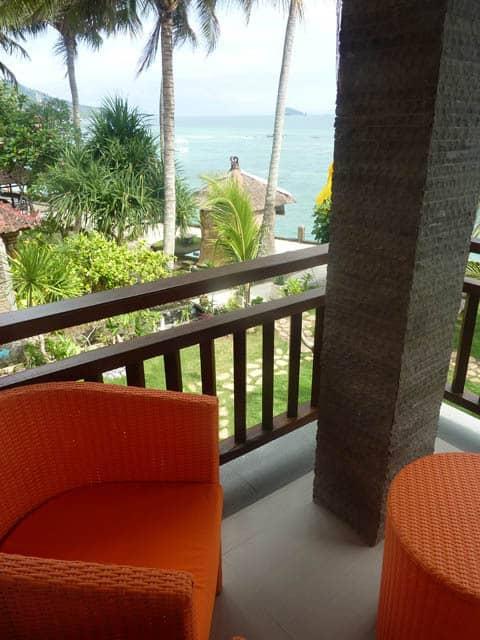 hotel bali candidasa terrasse vue mer