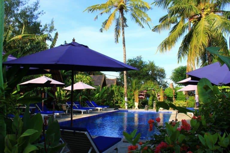 hotel gili air lombok vue piscine