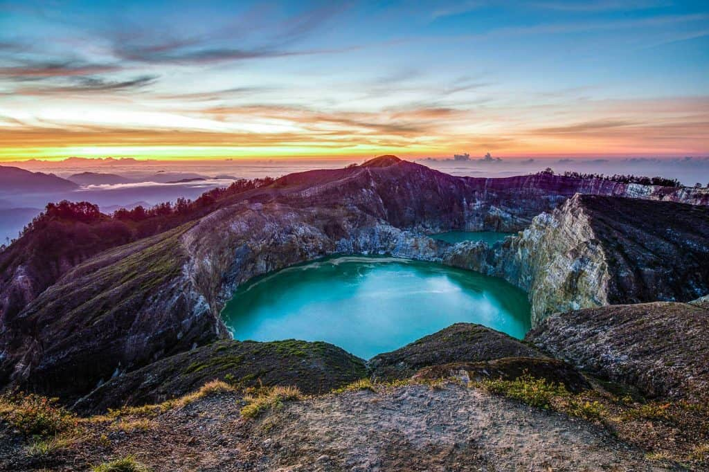 Kelimutu volcano lake Flores Indonesia sunset