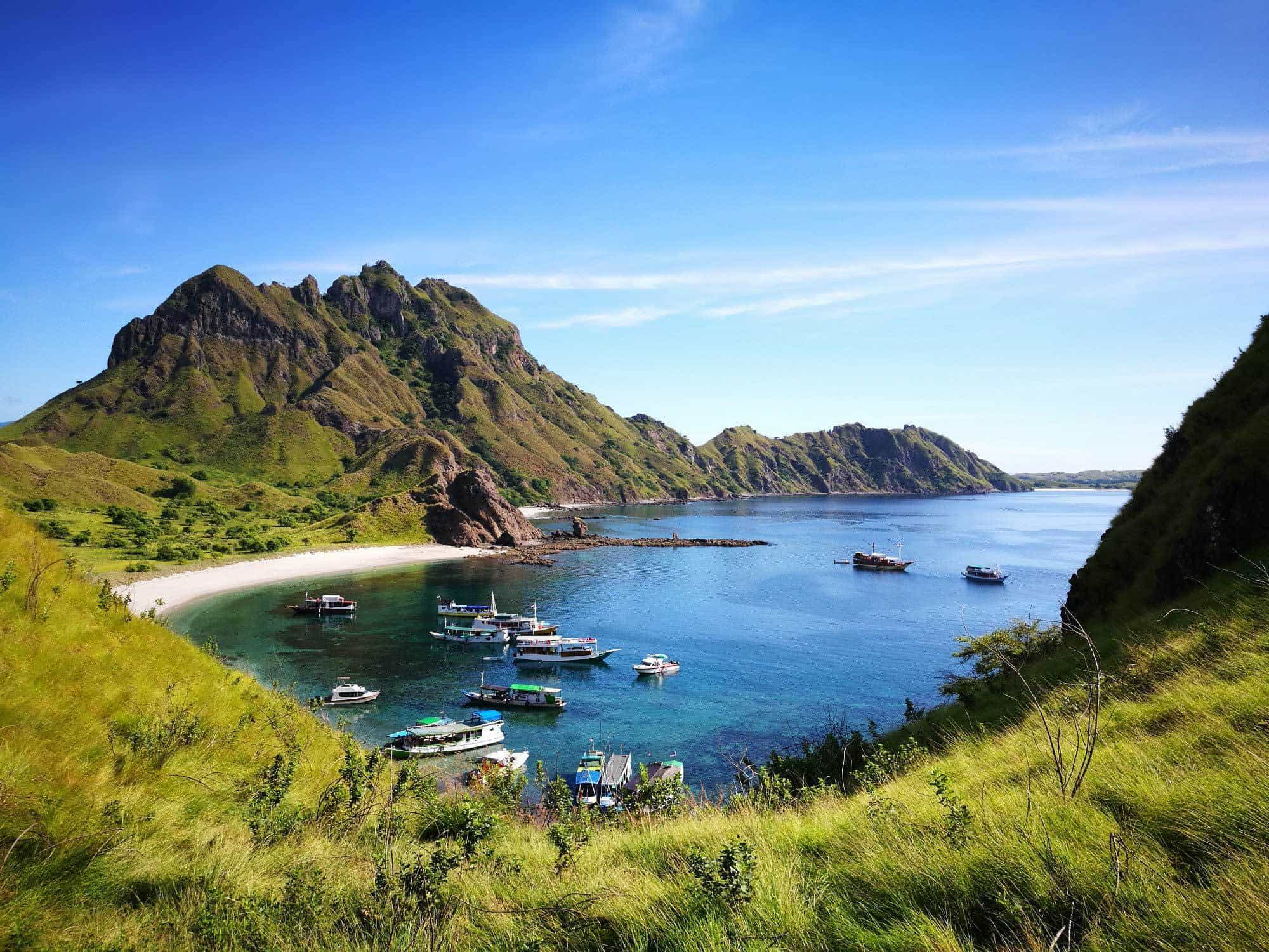 Komodo Island National Park Flores Indonesia Boat Bay