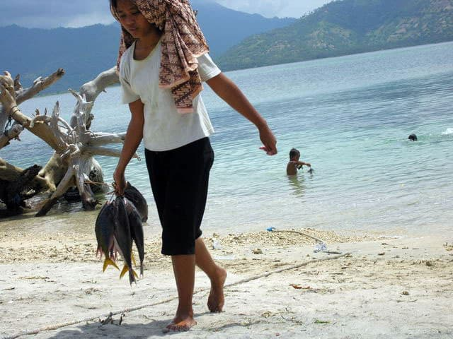peche gili air ile lombok indonesie marchands