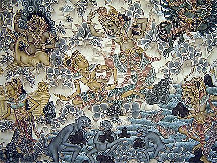 peinture balinaise monkey forest ubud