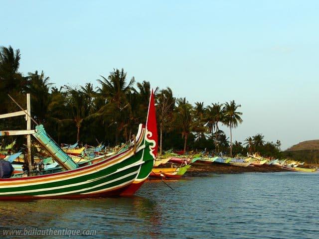 port peche jember java bateaux pecheurs colores