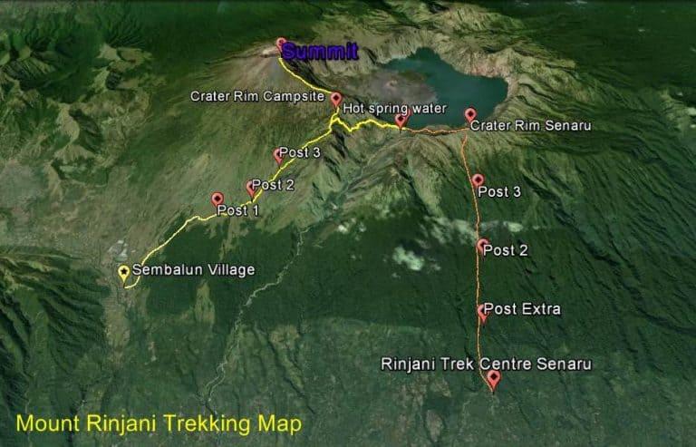 Rinjani trekking carte