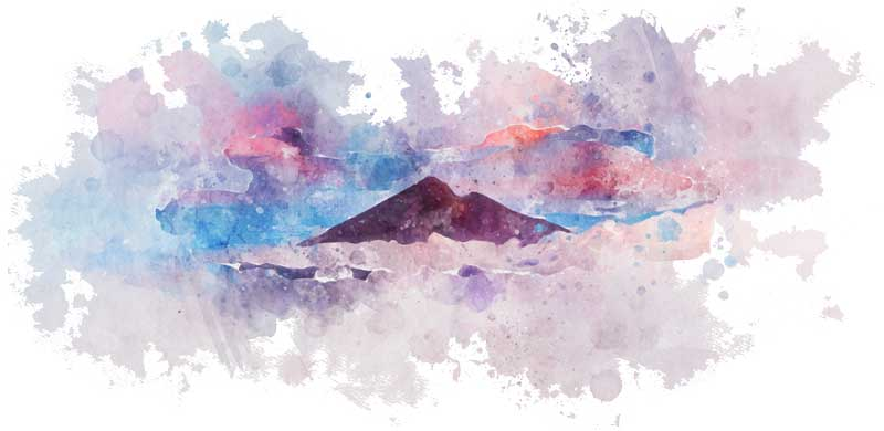 Rinjani volcano Lombok watercolor design