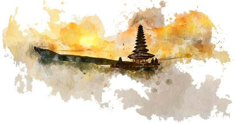 Temple Bali trip design watercolor