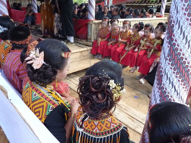 sulawesi toraja ceremonie funeraille enfants costumes traditionnels