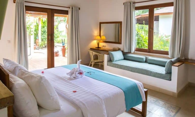 villa lombok gili piscine privative chambre