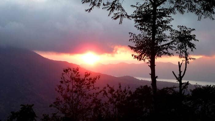 volcan batur bali sunset